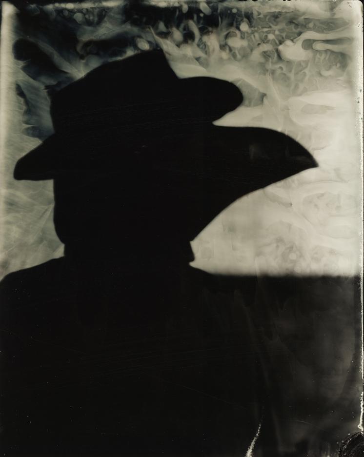 Tintype of Ingvild Eiring as a plague doctor.